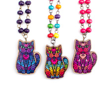 Spiral Cat on Beaded Necklace - Printed Kitties