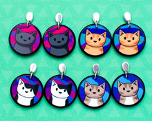 Colourful Cat Stud Drop Earrings