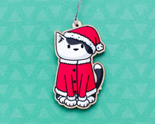 Santa Cat - Wooden Christmas Decoration