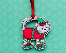 Grey Elf Cat - Wooden Christmas Decoration