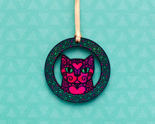 Pink Doodly Cat in Green Celtic Knotwork Circle - Wooden Decoration
