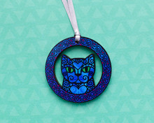 Blue Doodly Cat in Celtic Knotwork Circle - Wooden Decoration