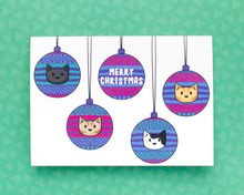 Christmas Bauble Cats  - Christmas Cards - 6 Pack