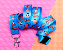 Cats in Boxes - Blue Lanyard  - with Safety Clip