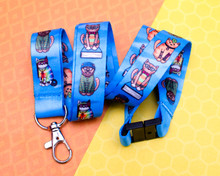 Character Cats Lanyard - Goth Hippy Nerd Hipster Punk - with Safety Clip