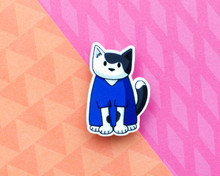 Blue Scrubs Cat - Veterinary Nurse Doctor Surgeon - Acrylic Pin