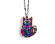 Flower Cat  Long Necklace - Super Doodley