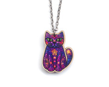 Moon and Stars Cat  Long Necklace - Super Doodley