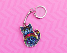 Rainbow patterned cat - Wooden Keyring