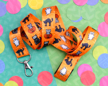 Halloween Cats - Lanyard  - with Safety Clip