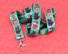 Christmas Cats - Lanyard  - with Safety Clip