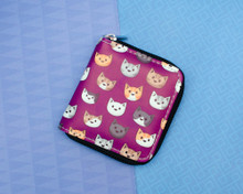 Purple Cat Faces Short wallet purse