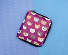 Purple Cat Faces Short wallet