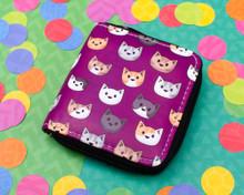 Purple Cat Faces Short wallet purse