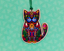 Christmas Spiral Cat - Wooden Decoration