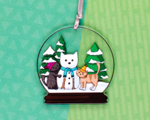 Snowglobe Cats - Double Sided Decoration