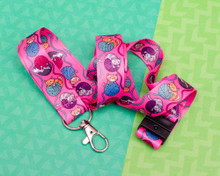 Yarn Cats - Pink Lanyard  - with Safety Clip