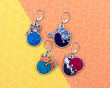 Cats and Yarn Stitch Markers - Set of 4