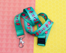 Cats in Boxes - Green Lanyard  - with Safety Clip
