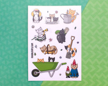 Gardening Cats Sticker Sheet