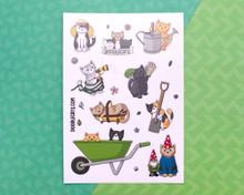 Gardening Cats Sticker Sheet