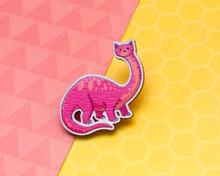 Brontosaurus Dinosaur Cat - Wooden Pin