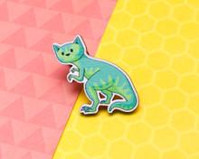 T-Rex Dinosaur Cat - Wooden Pin