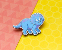 Triceratops Dinosaur Cat - Wooden Pin