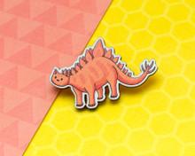Stegosaurus Dinosaur Cat - Wooden Pin