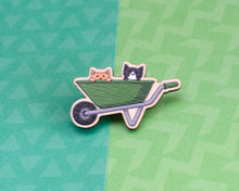 Wheelbarrow Gardening Cats - Wooden Pin