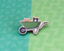 Wheelbarrow Gardening Cats - Wooden Pin