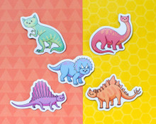 Dinosaur Cats Magnets - Set of 5