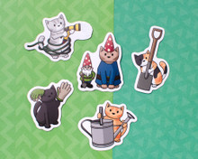 Gardening Cats Magnets - Set of 5
