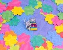 Grey Book Cat -  Acrylic Pin