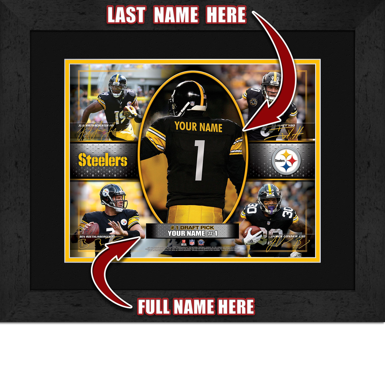 huge discount b6c13 bbbfe Personalized Pittsburgh Steelers Action Collage