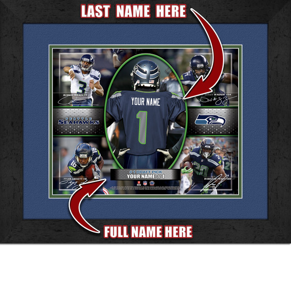 25 30 Seattle: Personalized Seattle Seahawks Action Collage Framed Picture