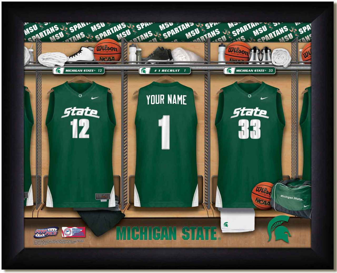 Michigan State Basketball Personalized Locker Room Print