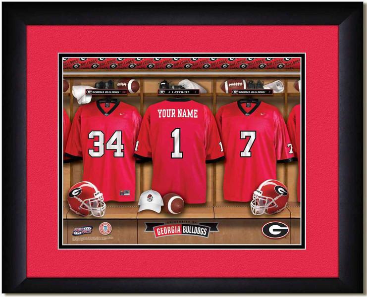 Georgia Bulldogs Personalized Locker Room Print Framed Poster