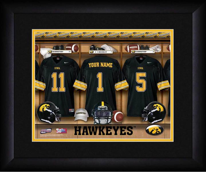 Iowa Hawkeyes Personalized Locker Room Print Framed