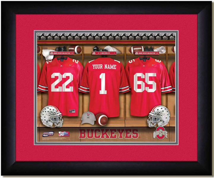 Ohio State Buckeyes Personalized Locker Room Print Framed