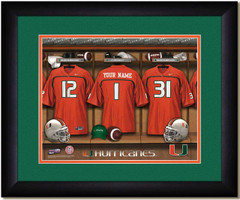 Miami Hurricanes Personalized Locker Room Print