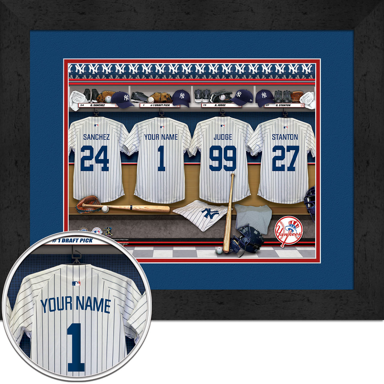 purchase cheap 2a2c5 a9b5d New York Yankees Personalized Locker Room Print