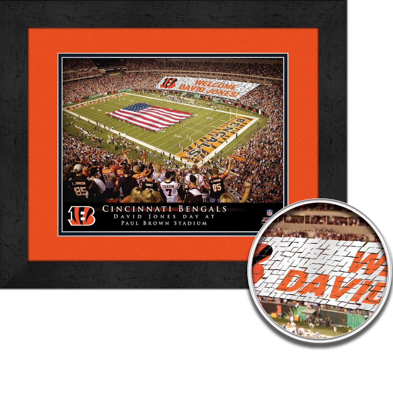 Personalized Customized Cincinnati Bengals Name Poster Sport Banner with Frame
