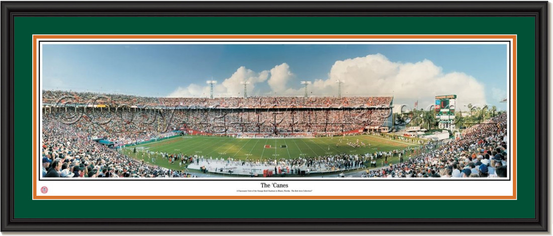 Miami Hurricanes Orange Bowl Stadium Panoramic Poster The Canes