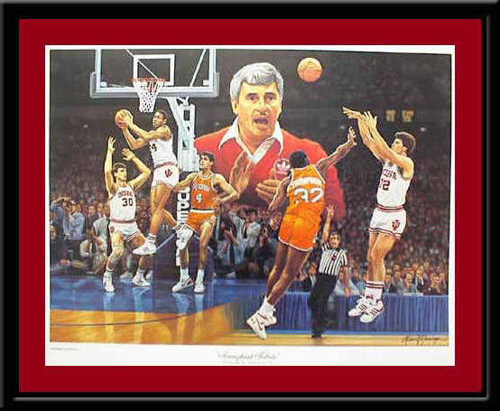 Indiana Coach Bobby Knight Triumphant Tribute Print
