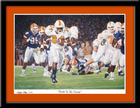 Tennessee Football Battle In The Swamp Framed Art Print