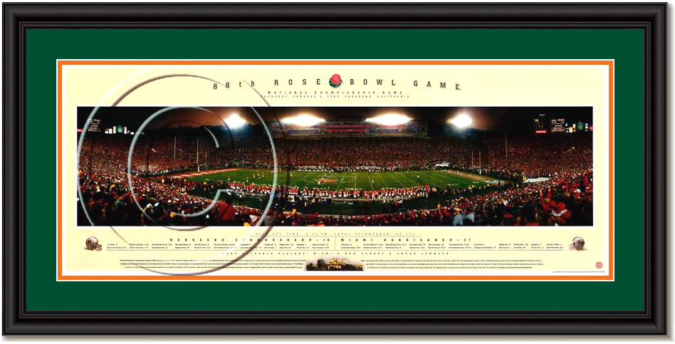 2001 Miami Hurricanes National Champions Framed Panoramic Poster