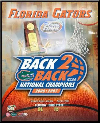 Florida Gators Back 2 Back NCAA Champs Framed Poster