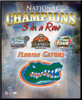 Florida Gators 3 In A Row National Champions Framed Poster