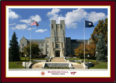 Virginia Tech University Burruss Hall Framed Picture